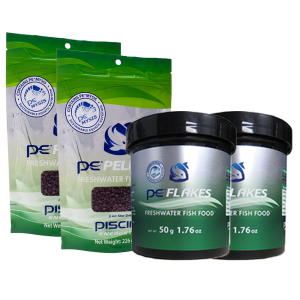 Two PE 8oz Bags of Freshwater Pellets (3mm) + Two PE 1.76oz Packs of Freshwater Flakes