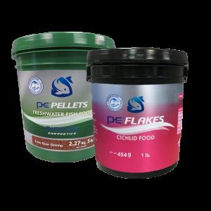 5lb PE Bucket of Freshwater Pellets (1mm) + FREE 1lb PE Bucket of Cichlid Flakes
