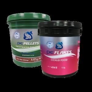 5lb PE Bucket of Freshwater Pellets (2mm) + FREE 1lb PE Bucket of Cichlid Flakes