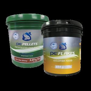 5lb PE Bucket of Freshwater Pellets (2mm) + FREE 1lb PE Bucket of Goldfish Flakes